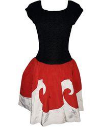 Lanvin - Robe mi-longue coton rouge - Lyst