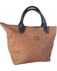 Longchamp - Sac à main en cuir nubuck beige - Lyst
