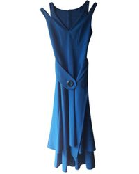 Karen Millen - Robe mi-longue triacétate bleu - Lyst