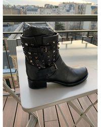 Valentino - Bottines & low boots motards cuir noir - Lyst