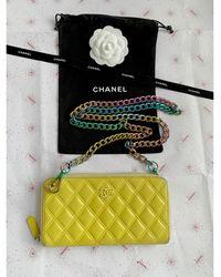 Chanel Portefeuille cuir jaune - Multicolore
