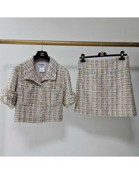 Chanel Tailleur jupe coton multicolore