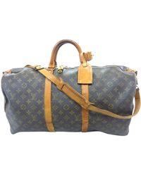 Louis Vuitton Sac XL en cuir cuir Keepall marron