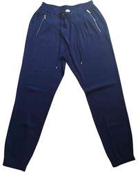Michael Kors Pantalon carotte viscose bleu
