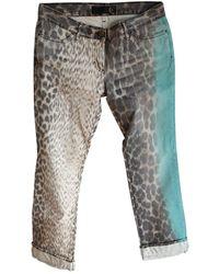 Roberto Cavalli Pantalon droit coton animalier - Multicolore
