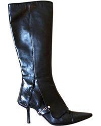 Chanel Bottes à talons cuir noir