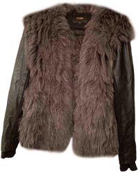 Maje - Blouson, veste en fourrure fourrure gris - Lyst