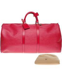 Louis Vuitton Sac XL en cuir cuir Keepall rouge