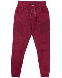 Balmain Pantalon de survêtement coton rouge