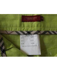 Burberry - Jupe mi-longue lin vert - Lyst