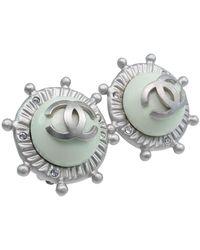 Chanel Boucles d'oreilles plaqué or vert