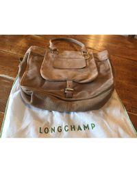 Longchamp - Sac à main en cuir daim beige - Lyst