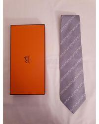 Balmain Cravate soie argent - Métallisé