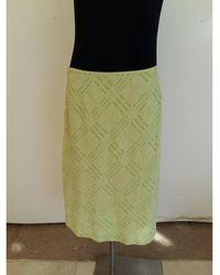 Burberry - Jupe mi-longue laine vert - Lyst