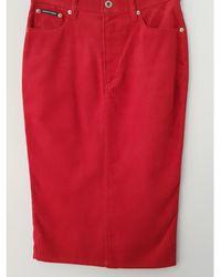 Dolce & Gabbana - Jupe mi-longue viscose rouge - Lyst