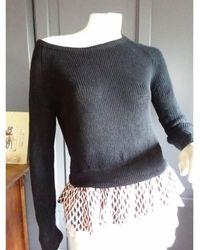 Maje - Pull lin et coton noir - Lyst