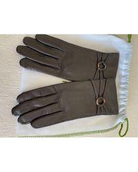 Longchamp Gants cuir marron
