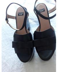 Moschino - Sandales compensées cuir noir - Lyst