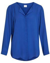 Vila High Low Split-neck Overhemd - Blauw