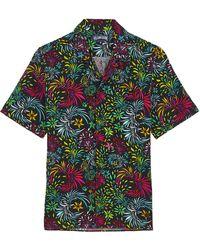 Vilebrequin Evening Birds Bowling-Hemd aus Baumwolle und Leinen für Herren - Schwarz