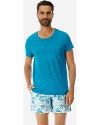 Vilebrequin Men Linen Jersey T-Shirt Solid - Azul
