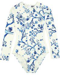 Vilebrequin Maillot De Bain Une Pièce Manches Longues Anti Uv Femme Cherry Blossom - Rashguard - Lexy - Bleu