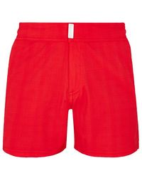 Vilebrequin Swimwear Short Flat Belt Stretch Prince De Galles - Red