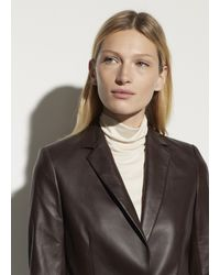 Vince Fitted Leather Blazer - Brown