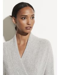 Vince Boiled Cashmere Wrap Front Pullover - Gray