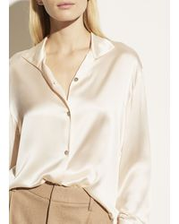 Vince Stand Collar Blouse - Natural