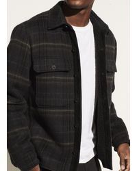 Vince Sherpa Plaid Utility Jacket - Black