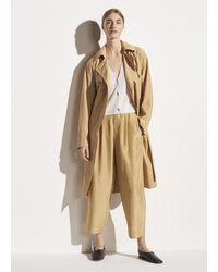 Vince Drapey Tech Faille Trench - Natural