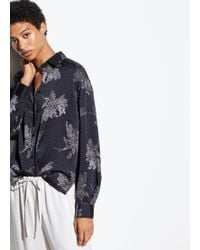Vince Woodblock Floral Silk Blouse