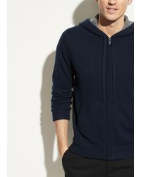 Vince Cashmere Full Zip Hoodie - Blue