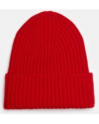 Vince Ribbed Cashmere Beanie - Red