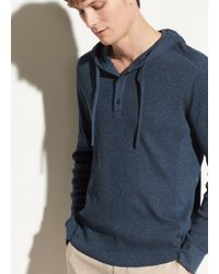 Vince Waffle Hooded Henley Pullover - Blue