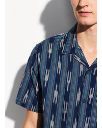 Vince Ikat Cabana Short Sleeve - Blue