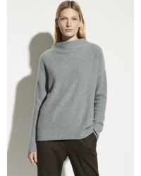Vince Boiled Cashmere Funnel Neck Pullover - Gray