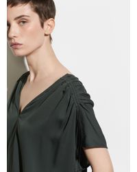 c3c3c9f71891e Vince Double Georgette Pintuck Popover Blouse in Green - Lyst