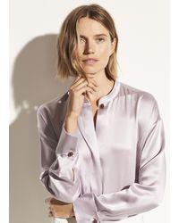 Vince Satin Long Sleeve Blouse - Multicolour