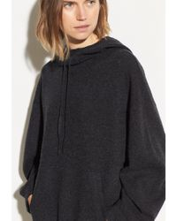 Vince Cashmere Double Layer Hoodie - Black