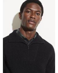 Vince Boiled Cashmere Quarter Zip Sweater - Black