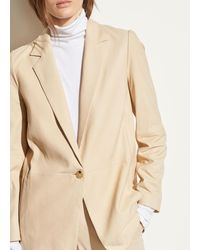 Vince Nubuck One-button Leather Blazer - Natural