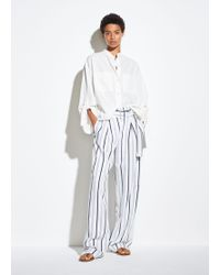 Vince Belted Stripe Pants - White