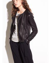 Vince Cross Front Leather Jacket - Black