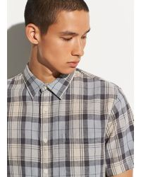 Vince Plaid Linen Short Sleeve - Gray