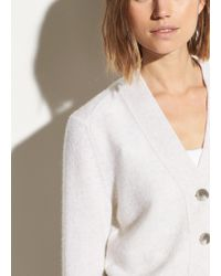 Vince Cashmere Shrunken Button Cardigan - White