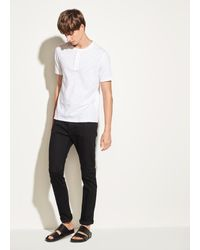 Vince Slub Cotton Short Sleeve Henley - White