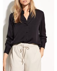 Vince Slim Fitted Stretch-silk Blouse - Black
