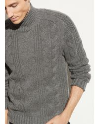 Vince Wool Cashmere Cable Turtleneck - Gray